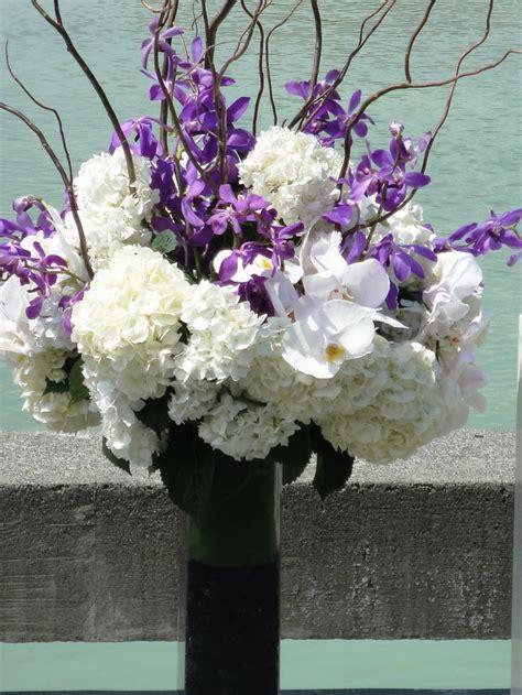 purple white floral wedding centerpieces wedding