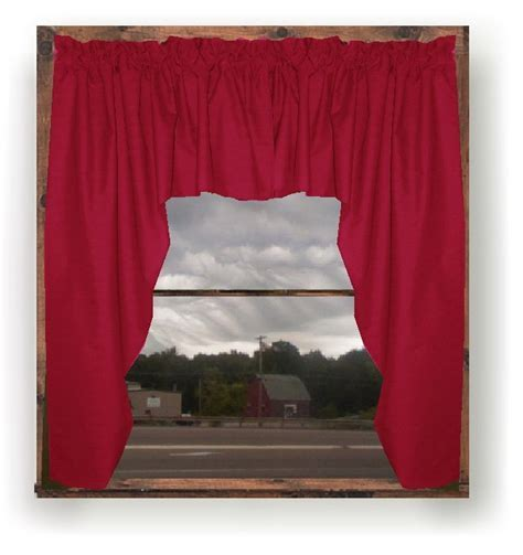Solid Red Colored Swag Window Valance (optional center