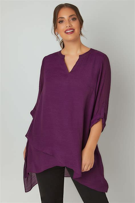 purple layered blouse  notch neck dipped hem