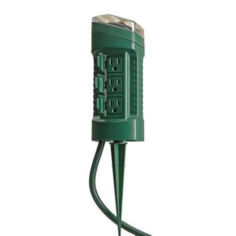 exterior light socket outlet woods outdoor 6 outlet yard stake with photocell light