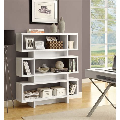 White Bookcase by White 55 Inch High Modern Bookcase Free Shipping Today