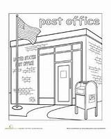 Office Coloring Town Clipart Worksheets Mailman Paint Preschool Worksheet Crafts Education Mail Postal Play Station Places Kindergarten Library Drawing Helpers sketch template