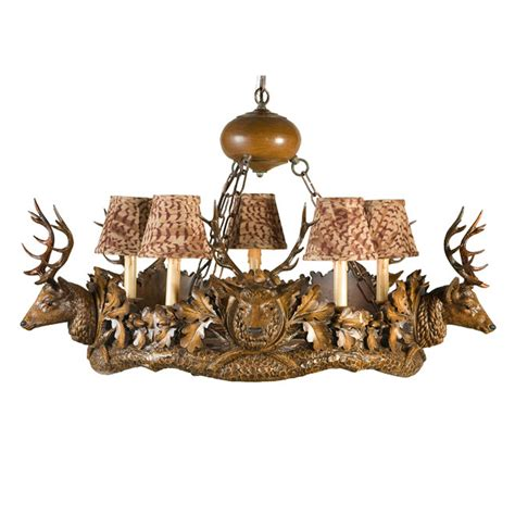 small stag head  light chandelier feather pattern shades