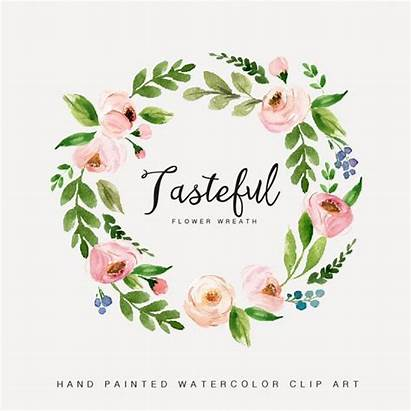 Wreath Watercolor Flower Floral Clipart Hand Tasteful