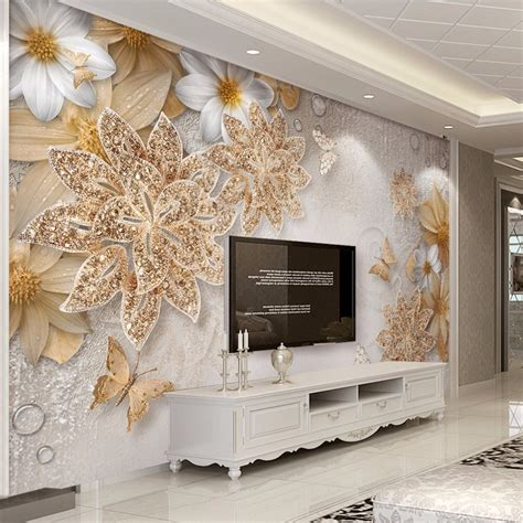 custom mural wallpaper  bedroom walls  luxury gold