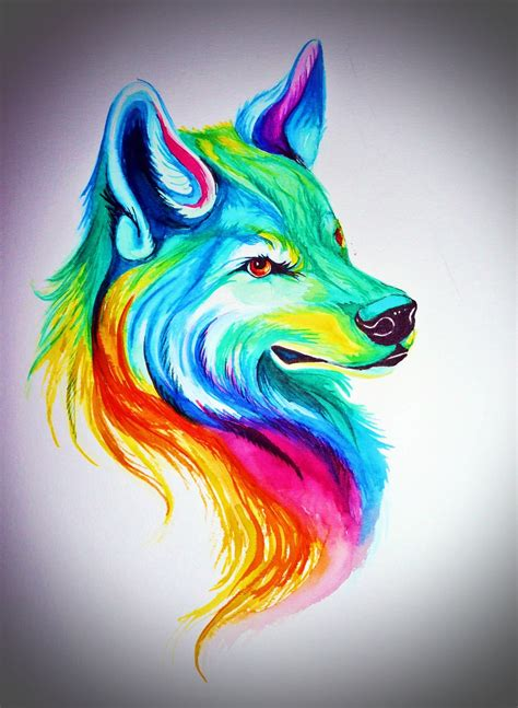watercolor wolf colorful wolf   watercolor wolf