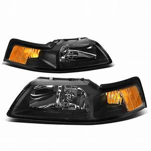 For 1999 to 2004 Ford Mustang OE Style Headlight Black Housing Amber Corner Headlamp 4 Gen 00 01 ...