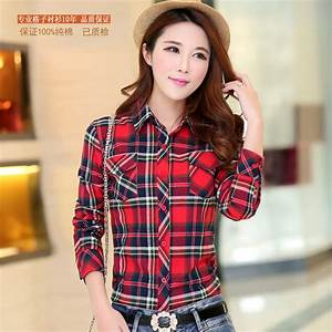 Contrast Color Red Checks Girl Women Plaid Check Shirt Tops Casual Collar Blouses Long Sleeve ...