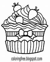 Cupcake Drawing Easy Simple Cake Coloring Almond Cup Pages Printable Getdrawings Clipartmag sketch template