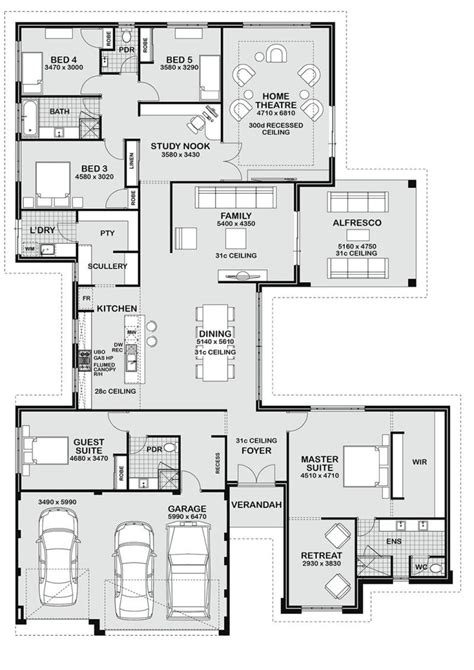 27595 5 bedroom floor plans floor plan friday 5 bedroom entertainer floor plans