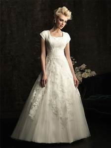 a line square chapel train modest lace wedding dress with With modest wedding dresses with sleeves