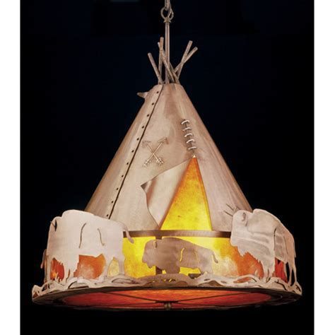 Meyda 31931 Teepee with Buffalo Pendant