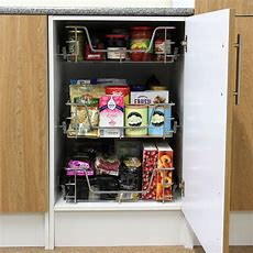 3 Kitchen Storage Wire Baskets Pull Out Drawer Slide Out