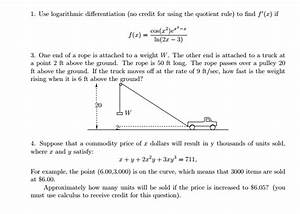 Solved: Use Logarithmic Differentiation (no Credit For Usi ...