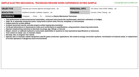 Electro Mechanical Technician Resume by Electro Mechanical Technician Cover Letter Cover Letter