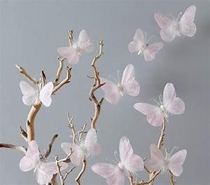 Pink feather butterflies set pottery barn kids