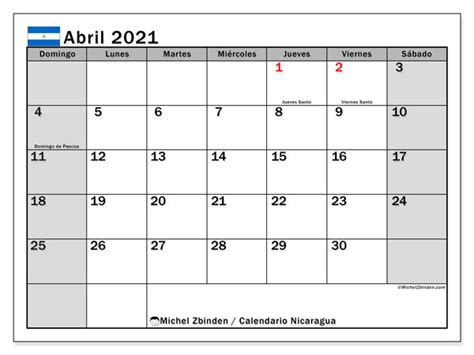calendarios abril  dias feriados michel zbinden es