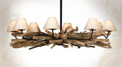 lustre bois flotte pas cher grand lustre en bois flott 233 224 8 points de lumi 232 res