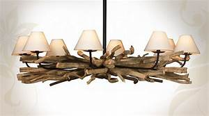 Lustre En Bois Flotté : grand lustre en bois flott 8 points de lumi res ~ Teatrodelosmanantiales.com Idées de Décoration