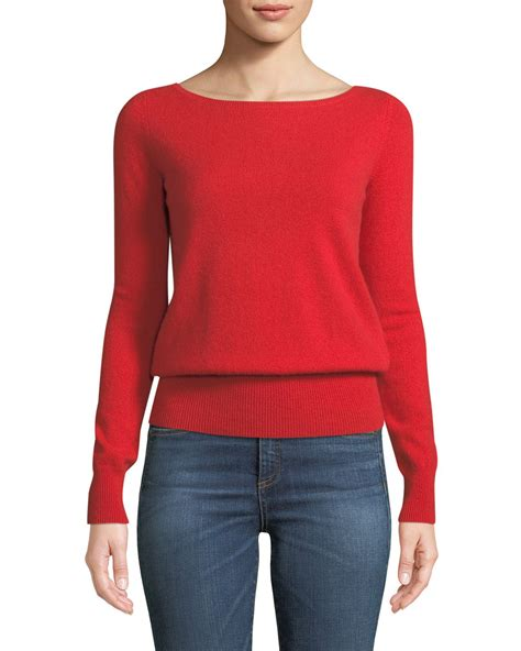 Boat Neck Cashmere Sweater by Neiman Marcus Cashmere Collection Long Sleeve Cashmere