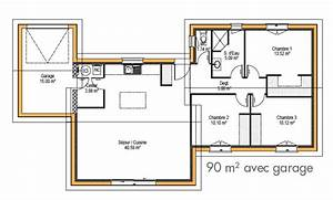 plan maison plain pied 100m2 3 chambres m pices chambres With beautiful plan maison en l 100m2 12 plan de maison moderne eterna