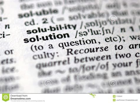 The Word Solution In A Dictionary Stock Image