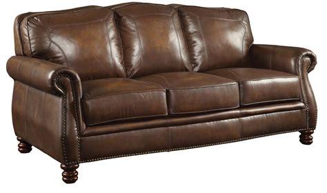 coaster furniture montbrook brown leather sofa