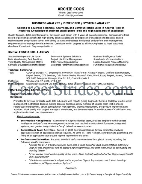 business systems analyst resume template