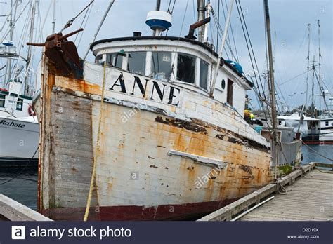 Alaska Commercial Fishing Boat by Old Wooden Commercial Fishing Boat In Crescent Harbor