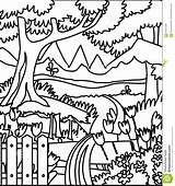 Coloring Forest Garden Preview Illustration sketch template