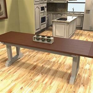 Trestle Table Plans to build a Farmhouse Table with Kreg Jig!