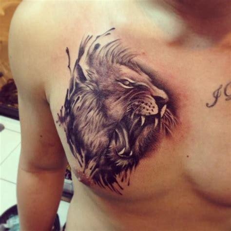 roaring lion head tattoo  chest polynesian tattoos
