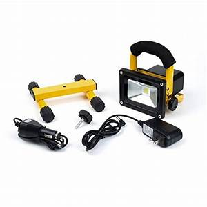 Battery powered portable floodlights : W led flood light rechargeable outdoor v