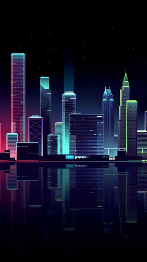 dark cityscape buildings colorful illustration