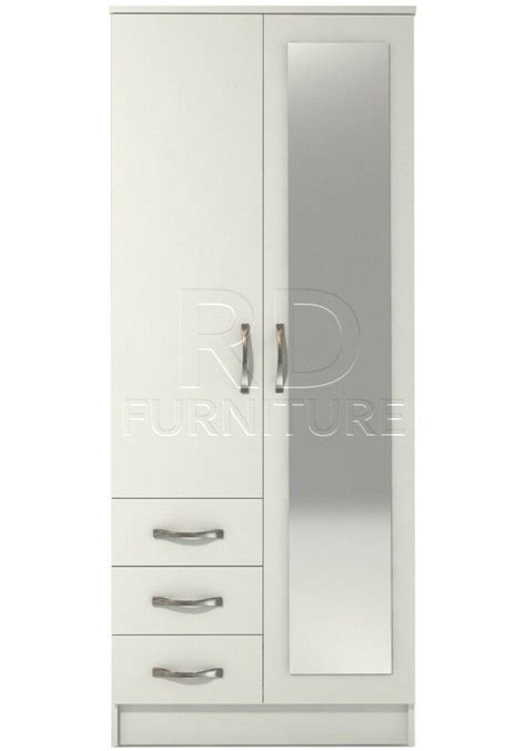 2 Door Wardrobe With Mirror And Drawers by Hton 2 Door 3 Drawer Combi Mirrored Wardrobe White