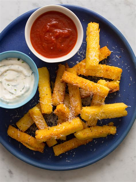 cuisine polenta polenta fries recipe spoon fork bacon