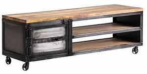 Meuble Bois Et Noir : meuble tv industriel bois de mangue et fer noir et naturel ~ Melissatoandfro.com Idées de Décoration
