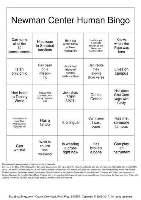human bingo template newman center human bingo bingo cards to print and customize