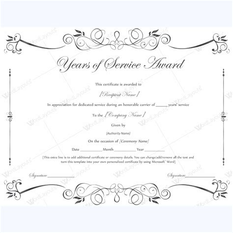 sample  years  service award certificate