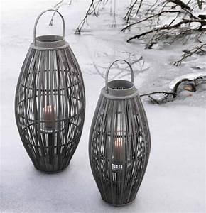 Lanterne Pour Bougie : lanterne aleta en bambou et bois gris pigeon pour bougie id ale en terrasse ou sur un balcon ~ Preciouscoupons.com Idées de Décoration