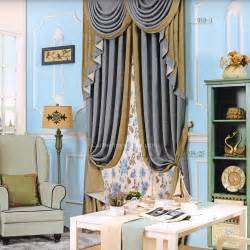 Dark Blue Victorian Curtains and Valances