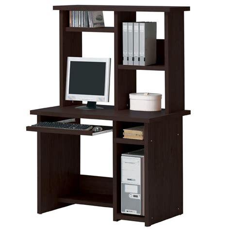 espresso computer desk optional hutch sliding keyboard tray shelves home office ebay