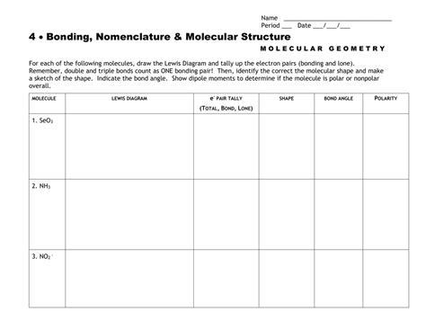 worksheet shapes of molecules worksheet worksheet