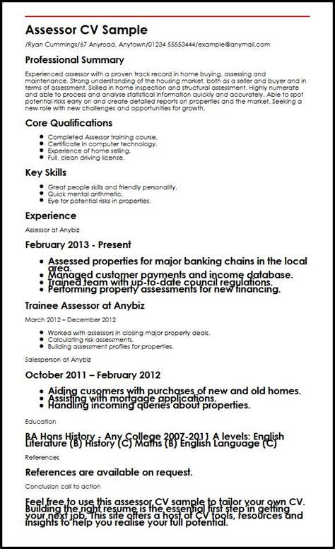 assessor cv sample myperfectcv