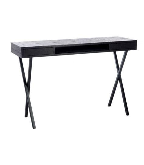 bureau en metal bureau design en bois noir et métal 2 tiroirs jline