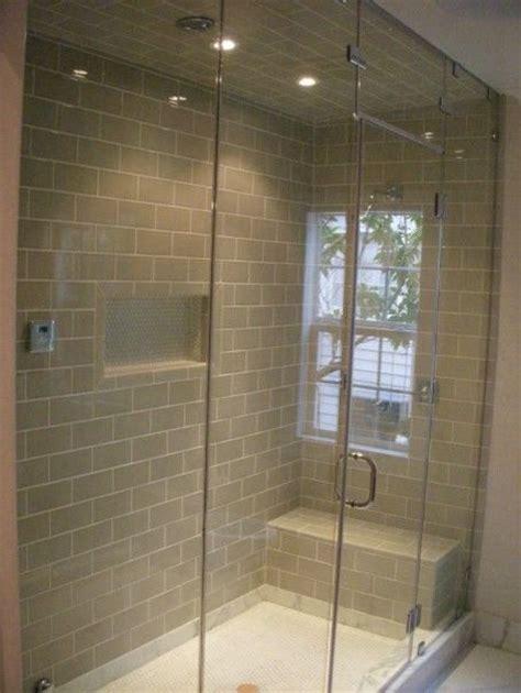 single niche   middle glass doors tile   walls