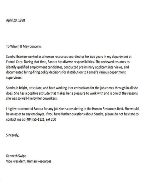 coworker recommendation letter samples  ms word