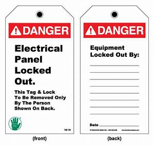 lockout and electrical tag front danger electrical With electrical panel tags