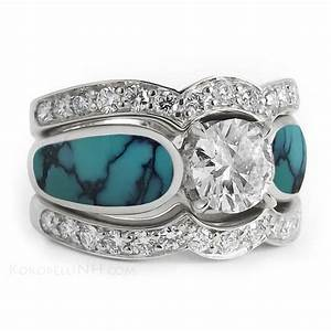 Quotstormy sky radiancequot 10 carat diamond and turquoise for Turquoise wedding rings