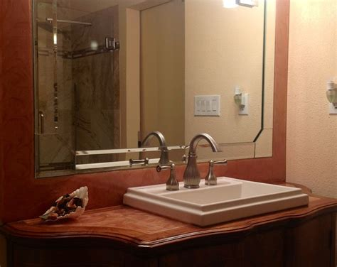 Bathroom Counter And Mirror Frame Copper Swirl